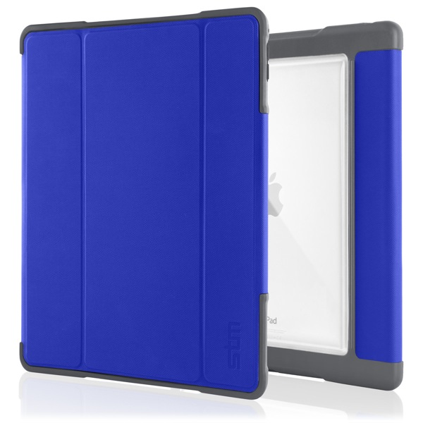 iPad Pro 9.7in: Front and back (Blue) STM Dux Plus Folio Case with Stand Clear Back for