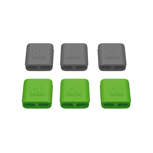 CableClips: Small - Includes 3 Gray and 3 Green
