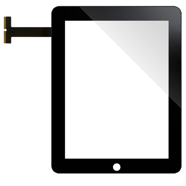 iPad 2: Black front glass + digitizer