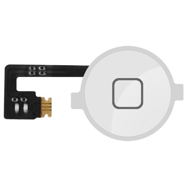 iPhone 4: Home Button Cap / Switch / Cable (White)