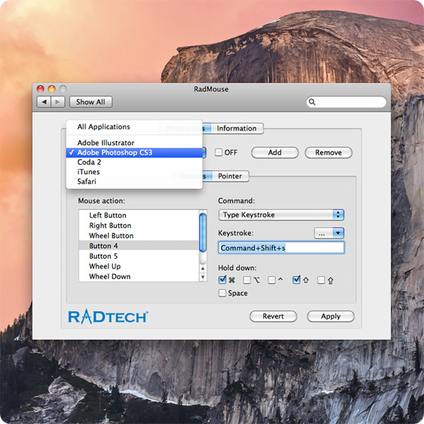 RadMouse: Map commands based on application