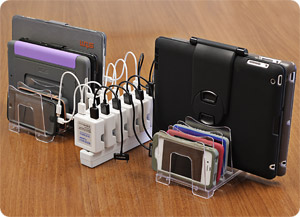 Low cost multi-device charging station using a power strip