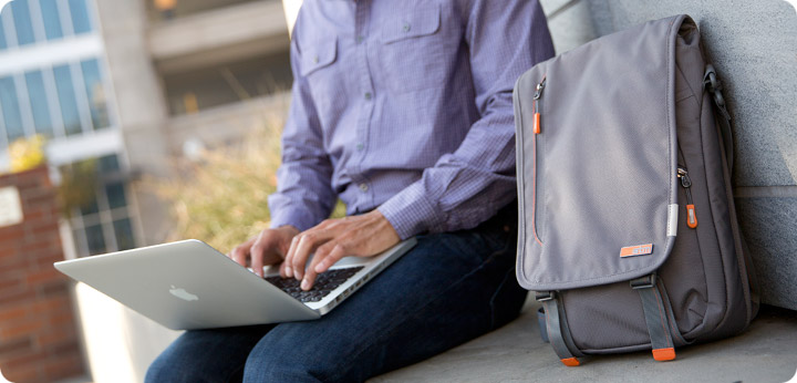 STM Linear Laptop Bag In Use